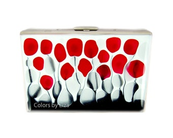 Metal Accordion Wallet Credit Card Holder Hand Painted  Enamel Red Black and White Wild Flowers Custom Colors and Personalized Options