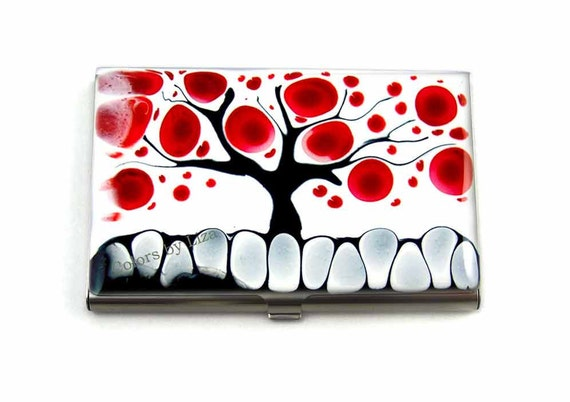 Business Card Case Hand Painted Enamel Red Black and White Tree of Life Business Metal Wallet Custom Colors and Personalized Options