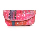 Pink Clutch Purse Upcycled Bag OOAK Accessory