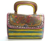 Handbag Vintage Vinyl Handpainted in Fall Colors, Upcycled Purse Indian Summer