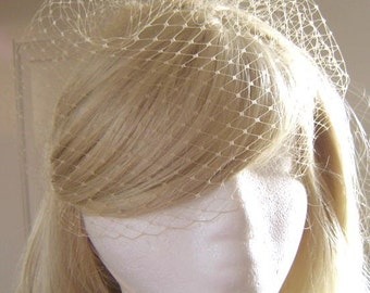 "LATTE' Bridal 9"" Blusher Birdcage Veil French Russian Netting Wedding"