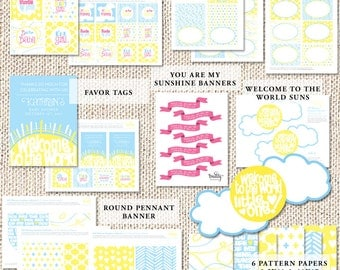 Sunshine Baby Shower Decor — Welcome Sunshine Baby Shower — Printable Baby Shower Decor