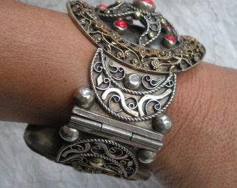 Sardinian Coral Silver and Gold Wash Ottoman Filigree Bracelet