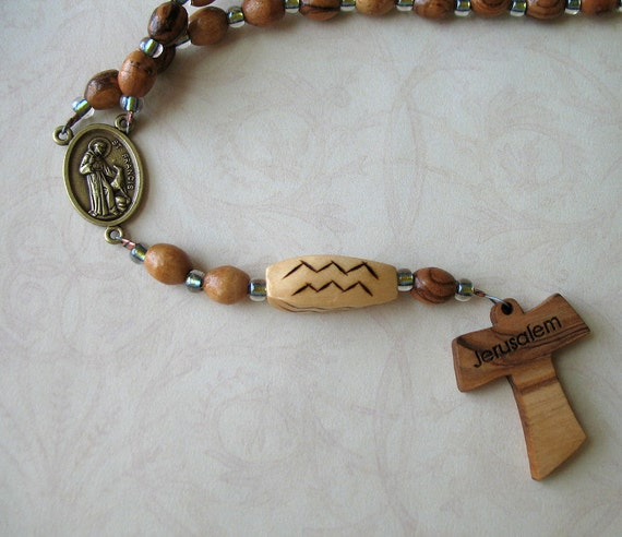 Franciscan Crown Rosary in Olive Wood with Tau Cross, St Francis and St Anthony