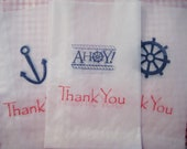 Ships Ahoy glassine bags, nautical thank you bags, party favors (red and navy set of 15)