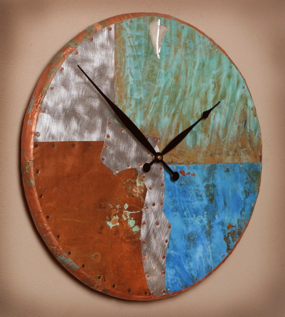 18 inch Round Copper and Metal Clock