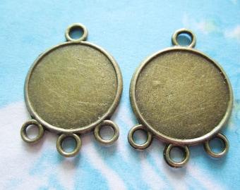 50pcs 20mm antiqued bronze round picture/photo frame charms/pendants connectors