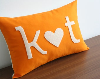 Initial Pillow - Custom Monogram - I Heart You - Valentine's Day Gift - Cotton Anniversary Gift -