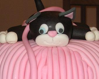 Edible fondant black kitten cake topper