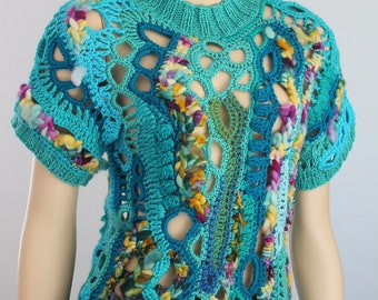 Hippie Boho Gypsy Rainbow Thick Freeform Crochet Sweater  - Tunic -Wearable Art - OOAK Size M L