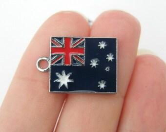 2 Australia flag charms silver tone WT85