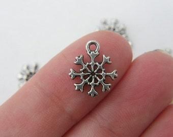 14 Snowflake Christmas charms antique silver tone SF14