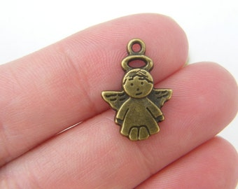 10 Angel charms antique bronze tone BC157