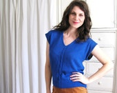 Sweater Vest / 80s Cobalt Blue Blouse / Silk / Angora Rabbit Knit