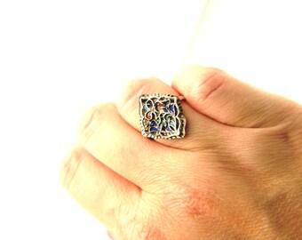 Enamel Ring - Sterling Silver - Vintage