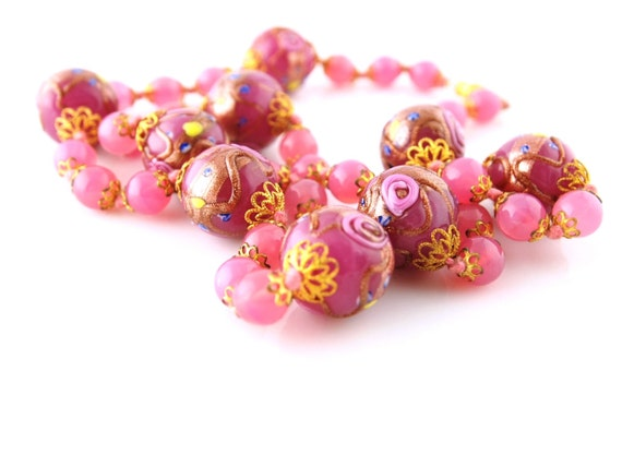 SOLD: SALE Pink Wedding Cake Bead Necklace - Glass Beads - Vintage Jewelry