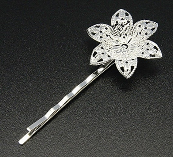 10pcs - bright silver plated - bobby pins - 30mm flower filigree glue on pad