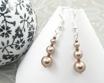 Gold Pearl Drop Earrings made with Crystal Pearls by Swarovski