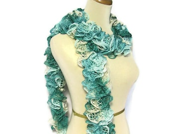Sale Hand Knit Ruffle Scarf Green Aqua Gray, Gift Idea For Her, Ruffle Scarf, Knit Scarf, Fashion Scarf, Womens Accessory, Fashion Accessory