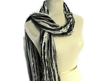Fringe Scarf, String Scarf, Gift Idea For Her, Fashion Scarf, Black Gray Scarf, Spring Scarf, Mother's Day Fashion Accessory