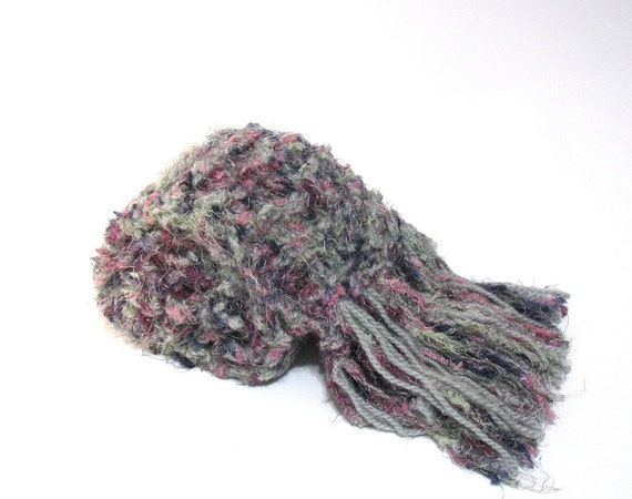 Sale Fireworks Sparkle Handknit Scarf - Gray Pink