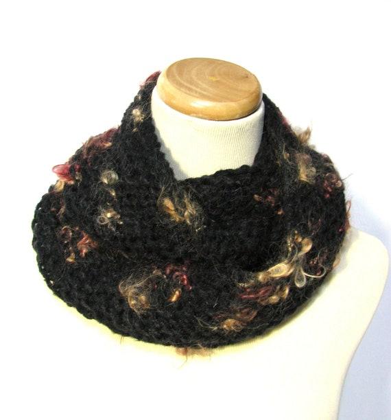 Black Knit Cowl/Circular Scarf - OOAK