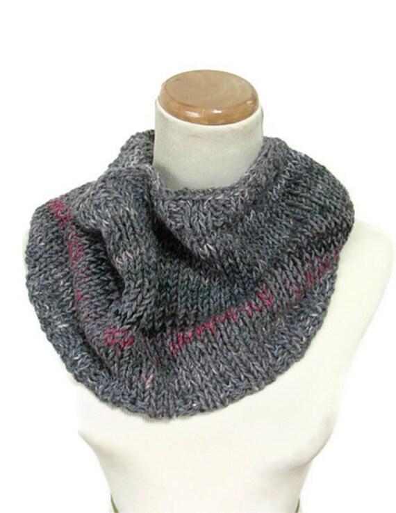 Multicolor Gray Hand Knit Cowl/Circular Scarf Infinity Scarf