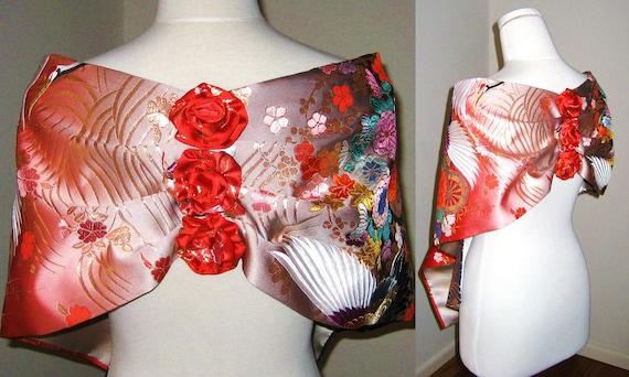 Vintage KIMONO Wedding Shawl GEISHA red and black butterfly flower crane embroidery size free Ready to ship