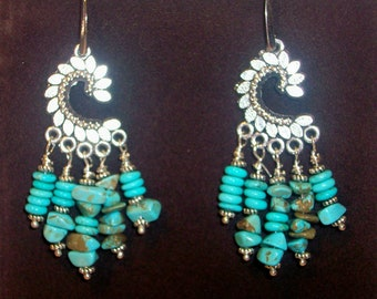 Turquoise Chandelier Earrings Real Stone and Chips    Free Shipping in USA