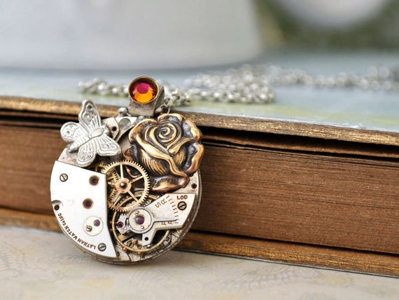 Steampunk necklace - ENCHANTED FOREST - antique silver watch movement necklace with rose and tiny butterfly charms