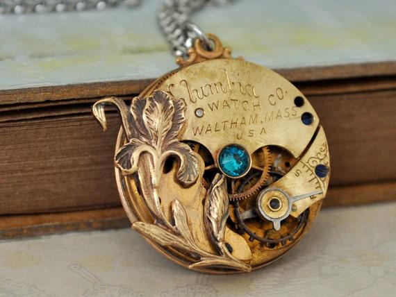 steampunk necklace LOVE TAKES TIME year 1900s Waltham brass vintage pocket watch with iris flower and blue zircon Swarovski rhinestone