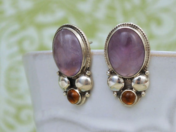 vintage find sterling silver AMETHYST AND TOPAZ earrings