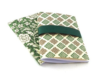 2 pocket size cahier with Italian patterned paper in green