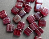 9mm Flat Squares - Raspberry Luster Mysteria - Premium Czech Glass - Hurricane Glass