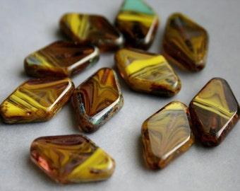 19x12mm Czech Glass Rhombus Window Beads FULL STRAND - Flat Diamond Beads - Last One