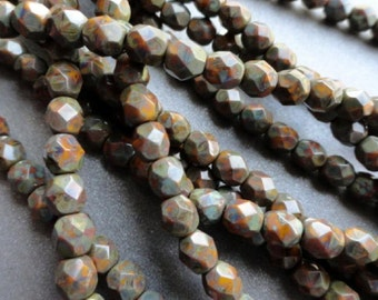 6mm Fire Polished Beads - Goldenrod Picasso - Faceted Rounds - Czech Glass Beads