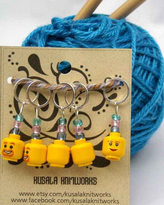 Lego Head Stitch Markers - Set of Five