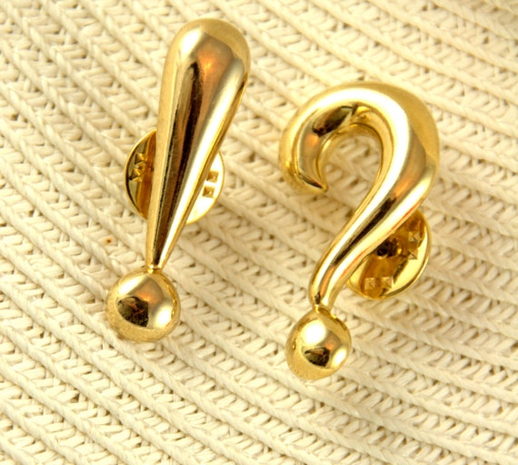 Vintage Gold Punctuation Pins, Set of Two, Question Mark, Exclamation Point, Lapel Pin, Brooch, Accessories