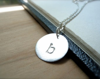 Initial b hand stamped silver disc necklace - Lowercase Letter b necklace - Personalized silver charms pendant - special gift for her