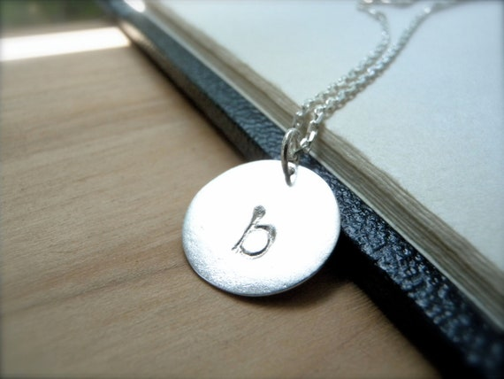 Initial b hand stamped silver disc necklace - Lowercase Letter b necklace - Personalized silver charms pendant - Perfect gift idea for her