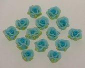 Light Blue Polymer Clay Rose Flower Beads 10mm