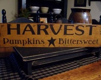 Harvest, Pumpkins, Bittersweet, Wood Sign, Fall, Fall Harvest, Pumpkin Sign, Rustic, Primitive, Fall Decor