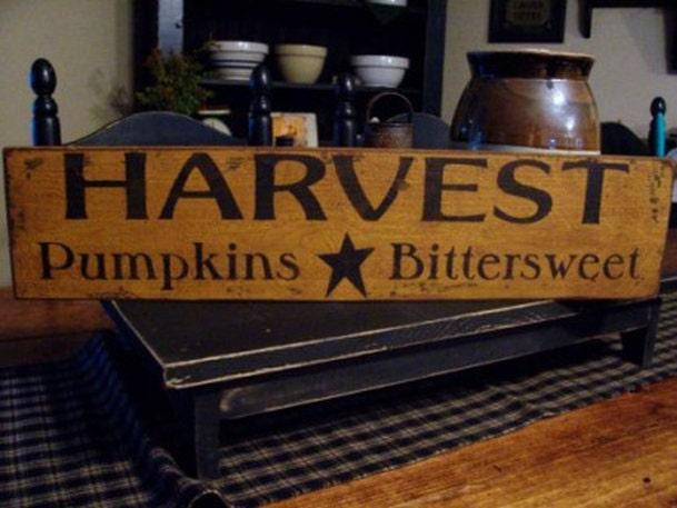 Harvest Pumpkins Bittersweet Wood Sign by DaisyPatchPrimitives