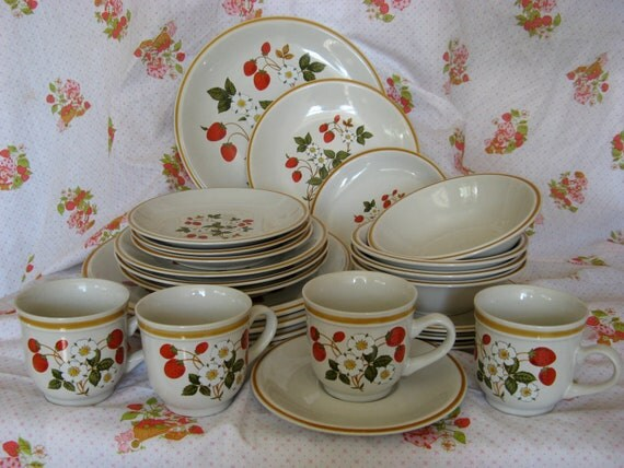 24 Piece Sheffield Strawberries 'n Cream Dish Set