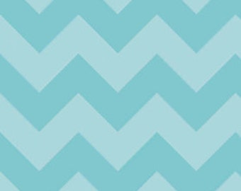 Chevron in LARGE Tone on Tone Aqua by Riley Blake Designs, 1/2 yard