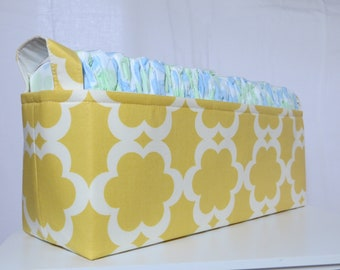 Diaper Caddy, baby caddy, Fabric Basket bin, Fits 50 size 1 diapers 15 x 5 x 6
