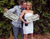Vintage Engagement Signs. I Stole her Heart with So, I'm Stealing his Last Name with Wedding Date. Save the Date, Engagement Photo Signs.