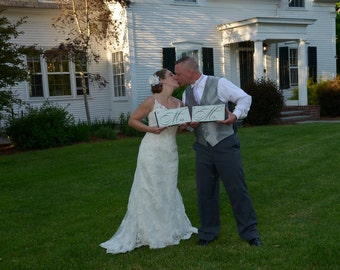 Wedding Chair Signs, Mr. and Mrs. and/or Thank and You.  Wooden Wedding Signs, Photo Props, Reception Signs.
