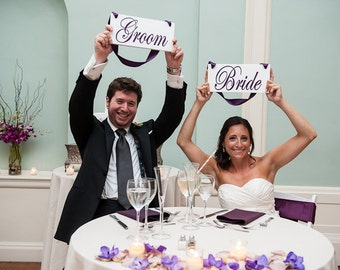 Chair Signs, Bride and Groom and/or Thank and You. 6 X 12 inches. Reception Chair Signs, Photo Props, Wedding Signs.