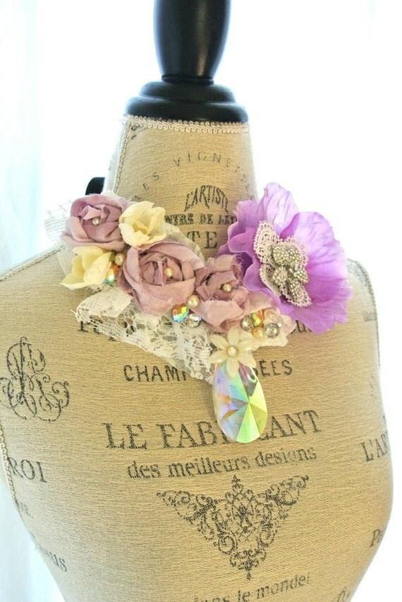 Gypsy boho bib necklace, cottage chic statement necklace, shabby jewelry, french market, paris, womens jewelry